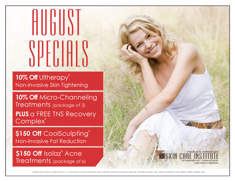 Skin Care Institute's August 2017 Specials of the month in Tulsa, Oklahoma