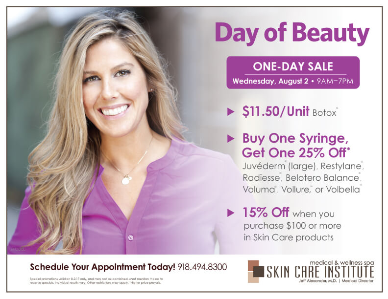 One-Day sale at Skin Care Institute on Botox, Dermal Fillers & Skin Care Products in Tulsa, Oklahoma