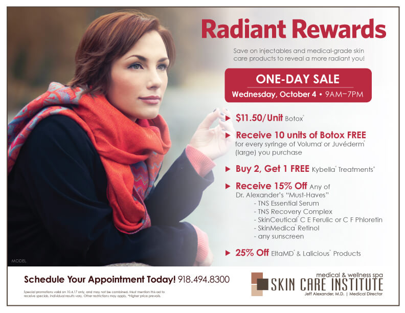 Skin Care Institute's October 2017 one-day-sale in Tulsa, Oklahoma