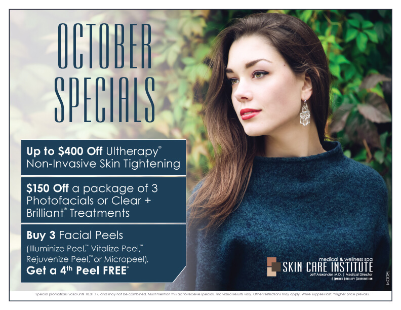 Skin Care Institute's October 2017 Specials of the month in Tulsa, Oklahoma