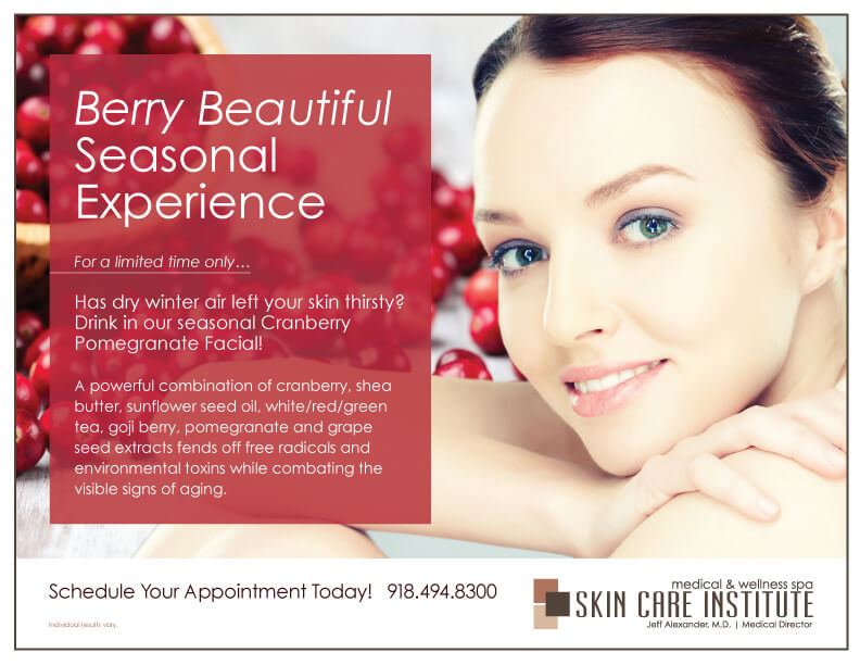 Drink in our seasonal Cranberry Pomegrante Facial!