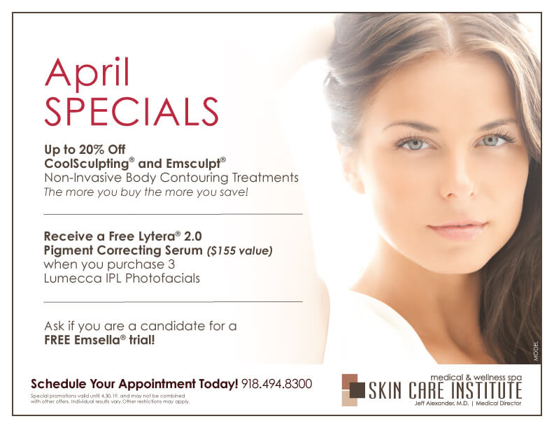 Check out Skin Care Institute's April Specials counter card 2019!