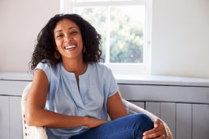 Woman that is happy becaseu she no longer has urinary incontinence