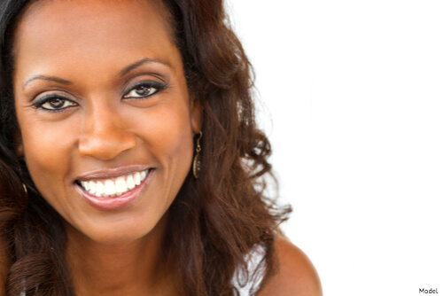 Woman with smooth skin from botox smiling