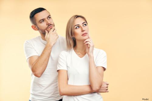 Couple thinking together