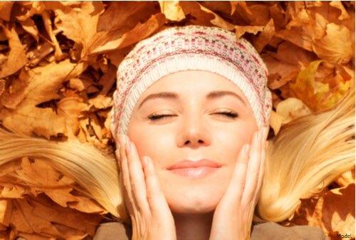 Woman enjoying fall